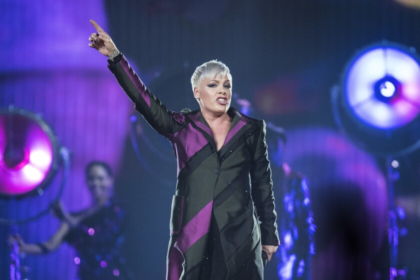 Pink performs as part of her Beautiful Trauma tour stop at Honda Center in Anaheim on Friday, May 25