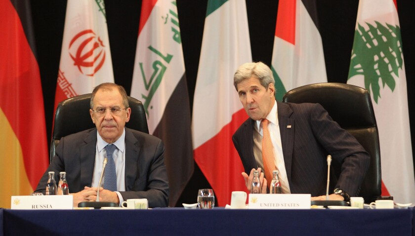 Russian Foreign Minister Sergei Lavrov and U.S. Secretary of State John F. Kerry meet with other members of the so-called International Syria Support Group on Thursday.