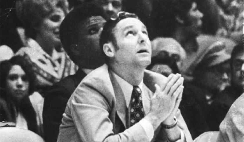 Lakers Coach Bill Sharman during a game in 1971.