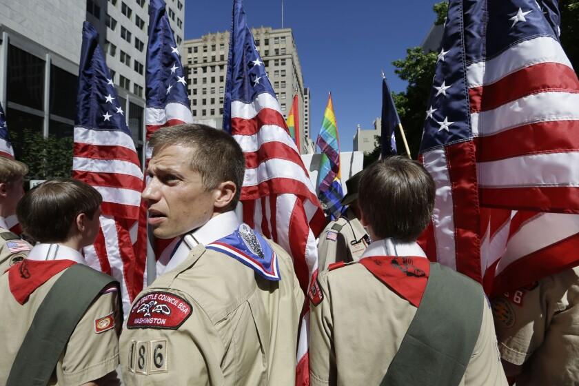 Boy Scouts in Seattle Gay Pride Parade.