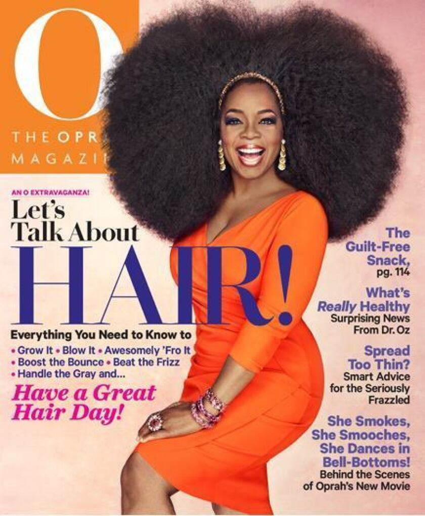 Oprah's 3.5-pound wig on O Magazine