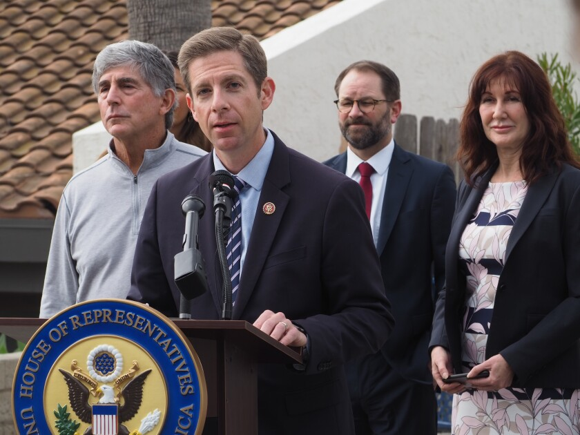 U.S. Rep. Mike Levin, D-San Juan Capistrano, announced funding for the Encinitas-Solana Beach Coastal Storm Damage Reduction Project during a news conference in Encinitas.