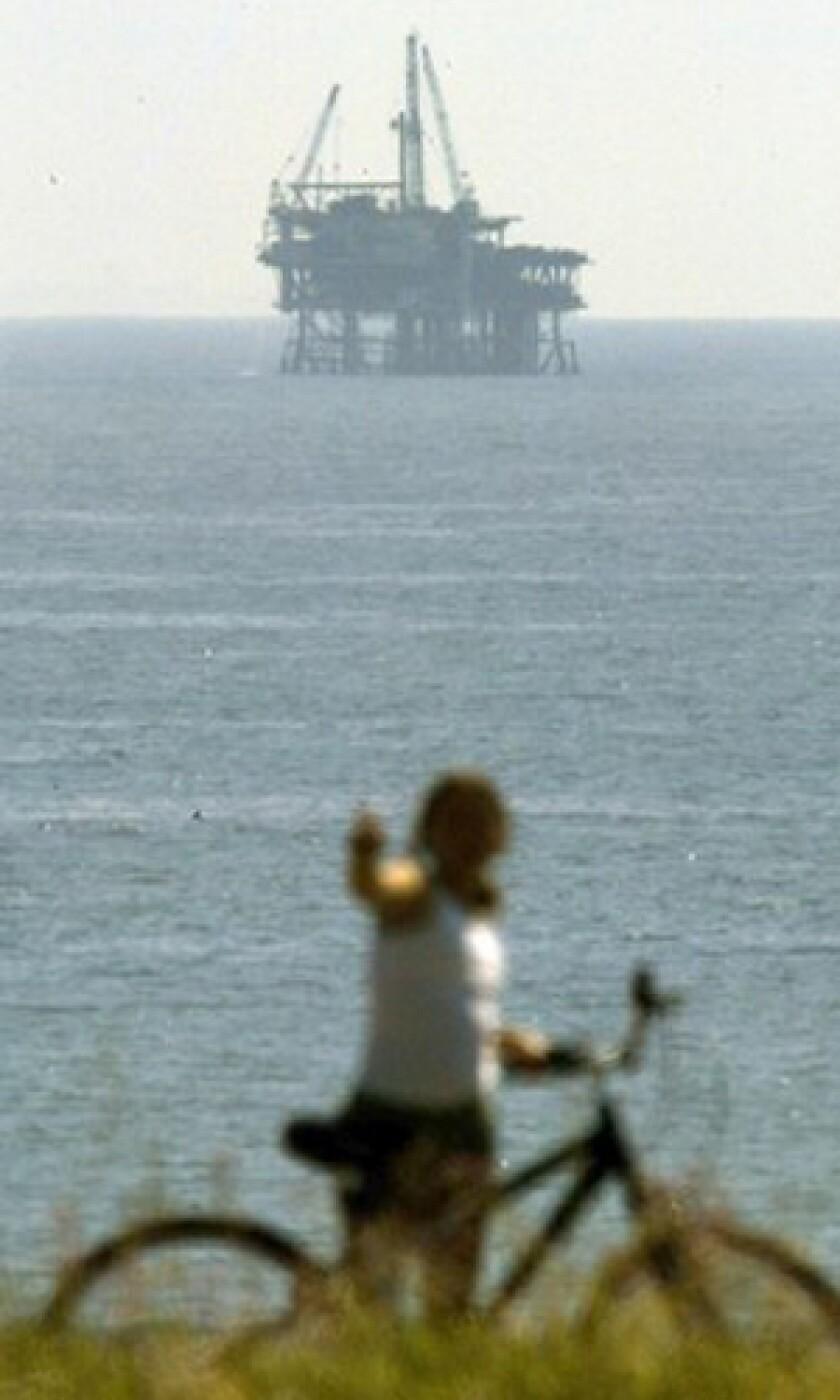 A rig near Santa Barbara. The notion of renewed drilling off the coast has drawn mixed reaction.