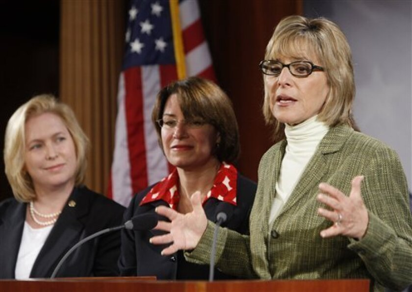Sen. Barbara Boxer, D-Calif.,right, Sen. Amy Klobuchar, D-Minn., center, and Sen. Kirsten Gillibrand, D-N.Y, left, speak on the nomination of Judge Sonia Sotomayor to be an Associate Justice of the Supreme Court on Capitol Hill, Thursday, July 9, 2009, in Washington. (AP Photo/Ron Edmonds)