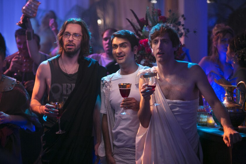 """Where's the party? It's in your house, with HBO making nearly 500 hours of subscription programming available for free during the shut-in month of April. Offerings include """"Silicon Valley,"""" with Martin Starr (left), Kumail Nanjiani and Thomas Middleditch."""
