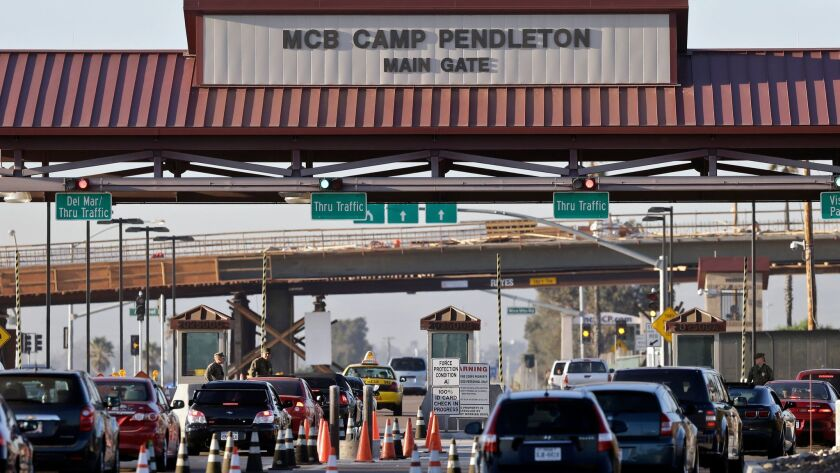 The main gate of Camp Pendleton in 2013, shortly after investigators began probing the death of soldier Imelda Oppelt at a residence on the sprawling base.