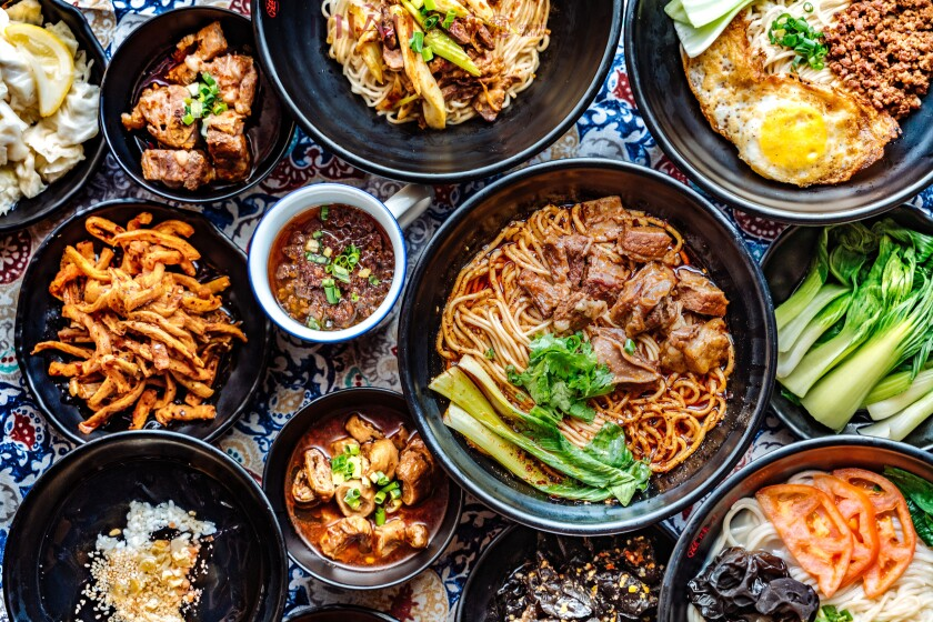 A selection of Sichuan-style noodles at Mian