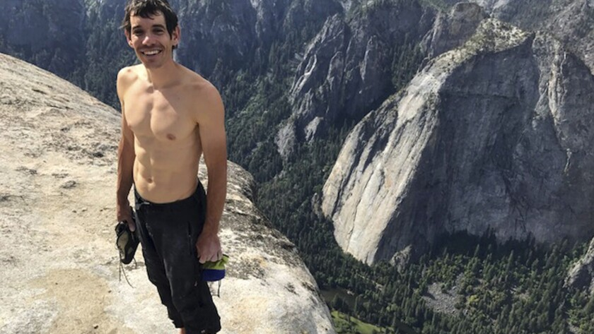 This Saturday, June 3, 2017, photo provided by National Geographic shows Alex Honnold atop El Capita