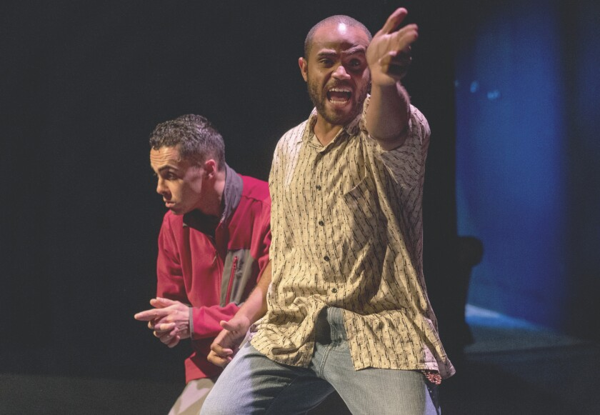 """Actors perform in a short play during the 2018 """"Out on a Limb"""" play festival."""