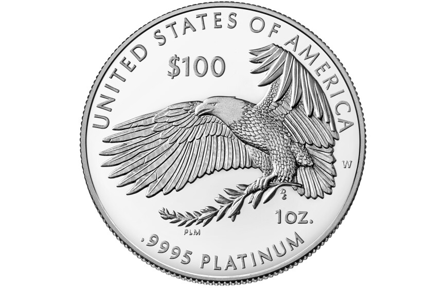 This image provided by the U.S. Mint, the reverse of the 2021 American Eagle Platinum One Ounce Proof Coin - Freedom of Religion, is photographed in Washington. It would be the token of all tokens: a $1 trillion coin, minted by the U.S. government, then cashed in to flood the treasury with cash and solve a political impasse over suspending the debt limit. The idea is getting some attention in Washington as an Oct. 18 deadline approaches, with Democrats and Republicans deadlocked over how to stave off an unprecedented credit default. (Burwell and Burwell Photography/U.S. Mint via AP)