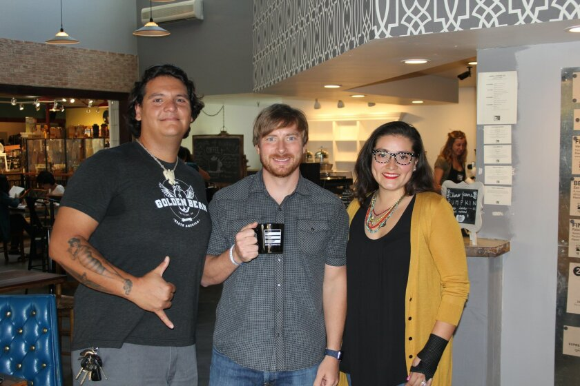 Mondo Rodriguez, John Vallas and Vanessa Corrales of Swell Coffee in Flower Hill Promenade. Photos by Karen Billing