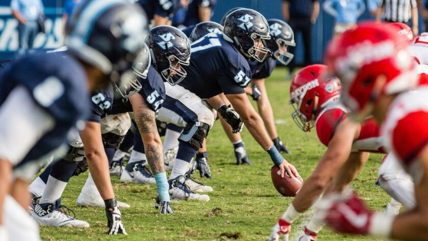 The USD offensive line has been protecting QB Anthony Lawrence, not allowing a sack in the team's last 175 pass attempts.