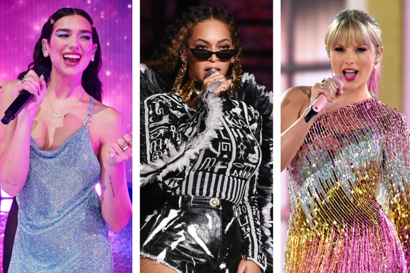 Dua Lipa, Beyoncé and Taylor Swift