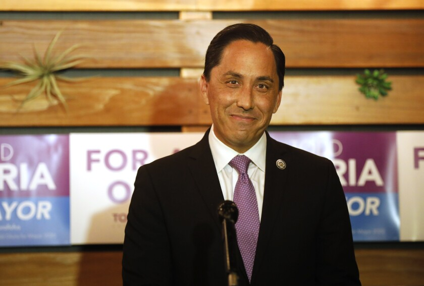 San Diego mayoral candidate Todd Gloria gives a speech after results came in his favor in San Diego.
