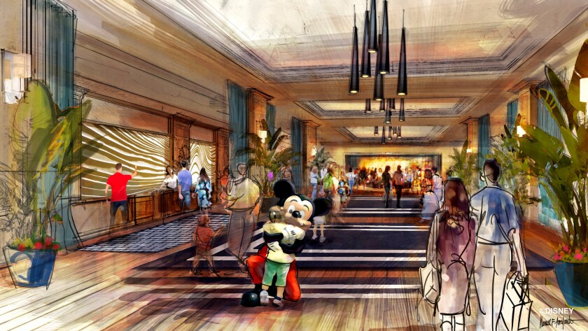 An artist's rendition of Disneyland's newest proposed luxury hotel, in Anaheim, Calif., provided by the Walt Disney Company.
