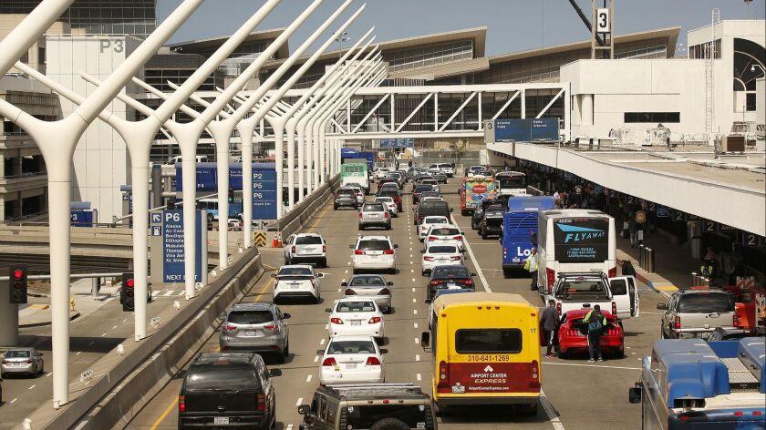 LOS ANGELES, CA – May 31, 2018: Vehicle traffic at LAX Terminal 2 and 3 May 31, 2018 following a