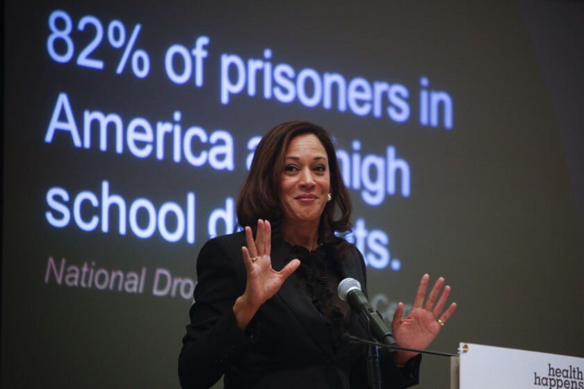 State Attorney General Kamala Harris shown last year discussing a report on truancy. On Monday she announced five bills that will implement the recommendations of the report.