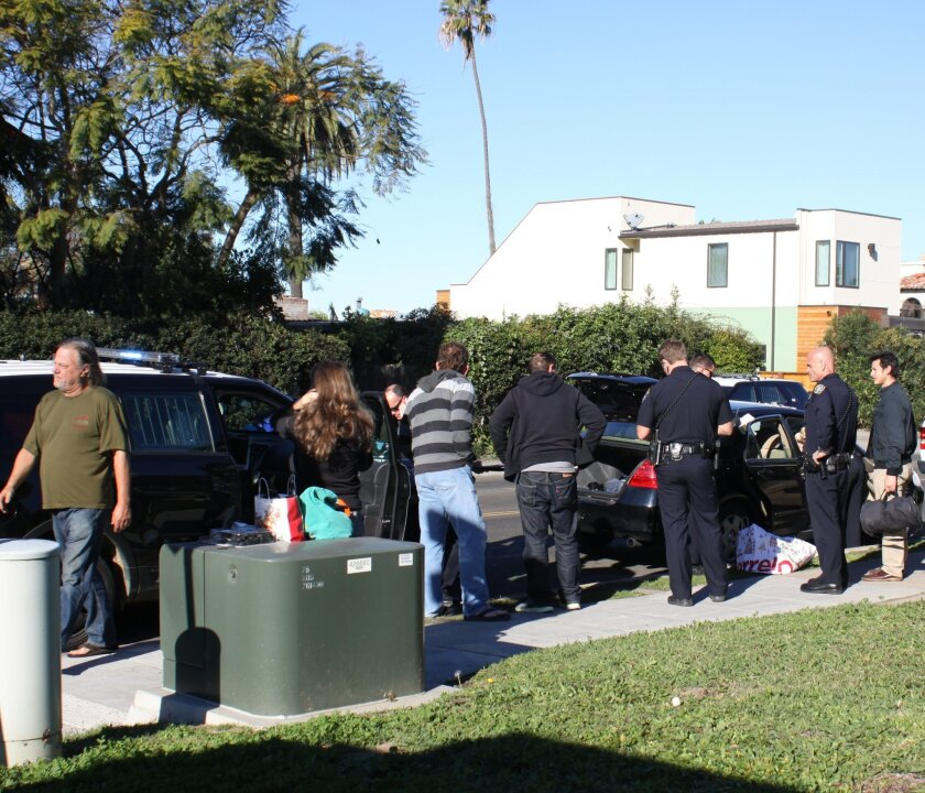 Early Friday morning, San Diego Police stopped a black Honda on La Jolla Boulevard at Sea Lane and found stolen property. The victims were called to identify and collect their items.