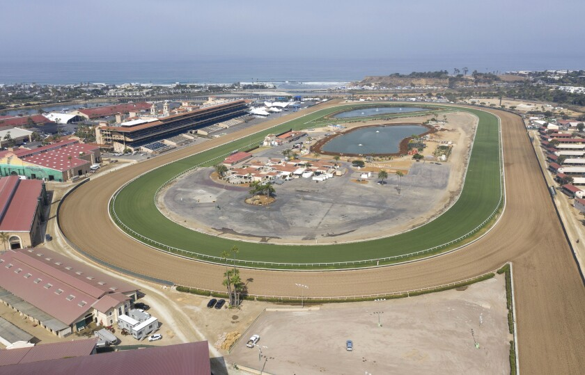 High angle view of the Del Mar Racetrack at 10:00 a.m. when the sun comes out and morning workouts on the track end.