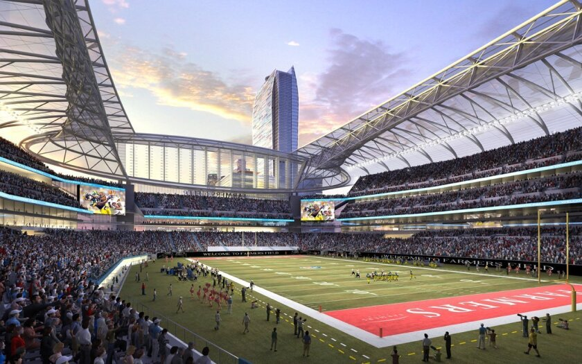 """In this rendering released by AEG, the proposed football stadium to house a NFL team in Los Angeles is seen, called """"Farmers Field."""""""