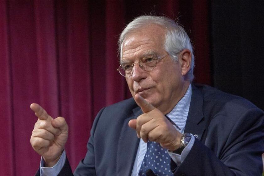 """El ministro español de Asuntos Exteriores, Josep Borrell, participa durante una conferencia sobre """"Europa y el Estado del Reino de España: retos actuales y promesas futuras"""" ayer, jueves 20 de Septiembre de 2018, en la Universidad de Nueva York (NYU), en Nueva York (EE.UU.). EFE"""