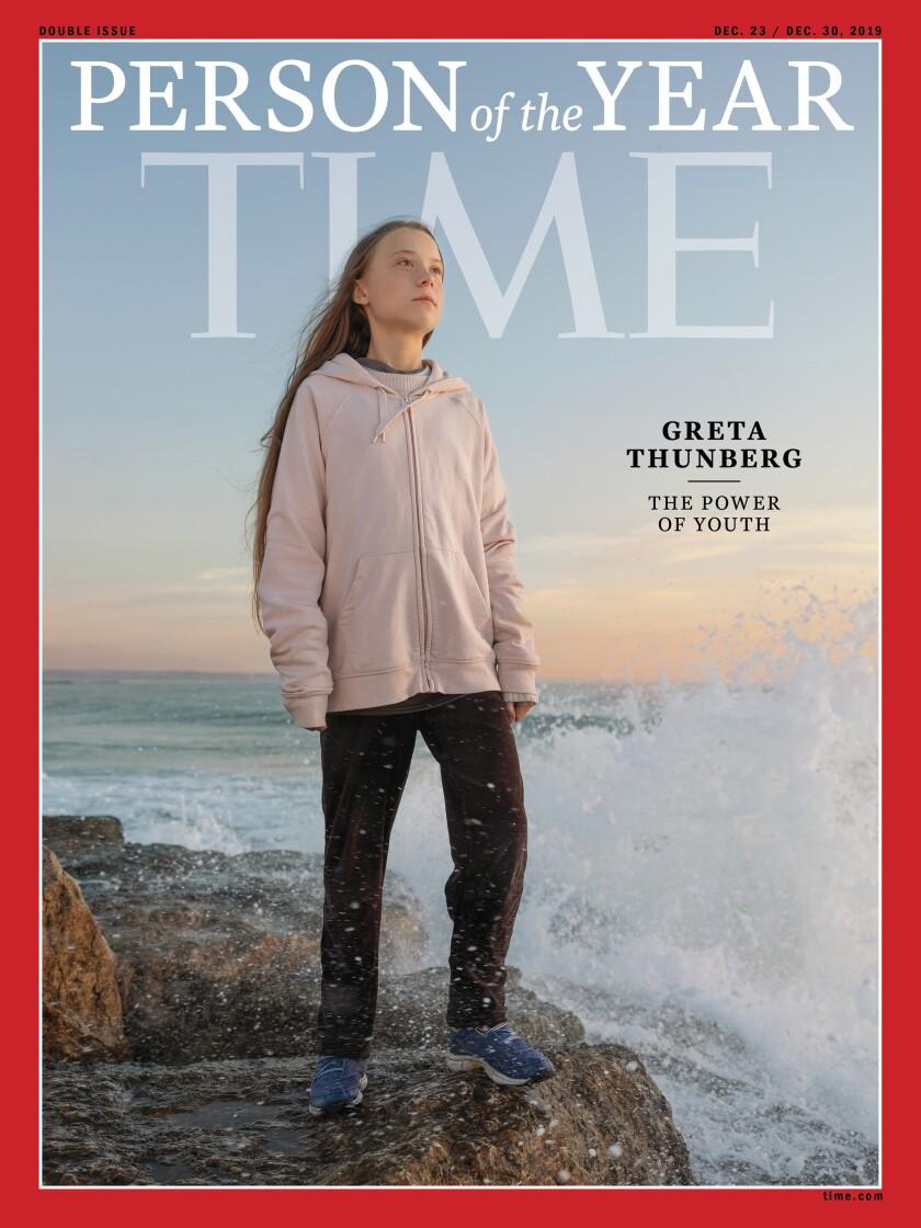 """Esta foto de la revista Time muestra a Greta Thunberg, quien ha sido nombrada la """"persona del año"""" más joven de Time el miércoles 11 de diciembre de 2019. La franquicia de los medios de comunicación dijo el miércoles en su sitio web que Thunberg está siendo honrada por un trabajo que trasciende los antecedentes y las fronteras. (Tiempo vía AP)"""