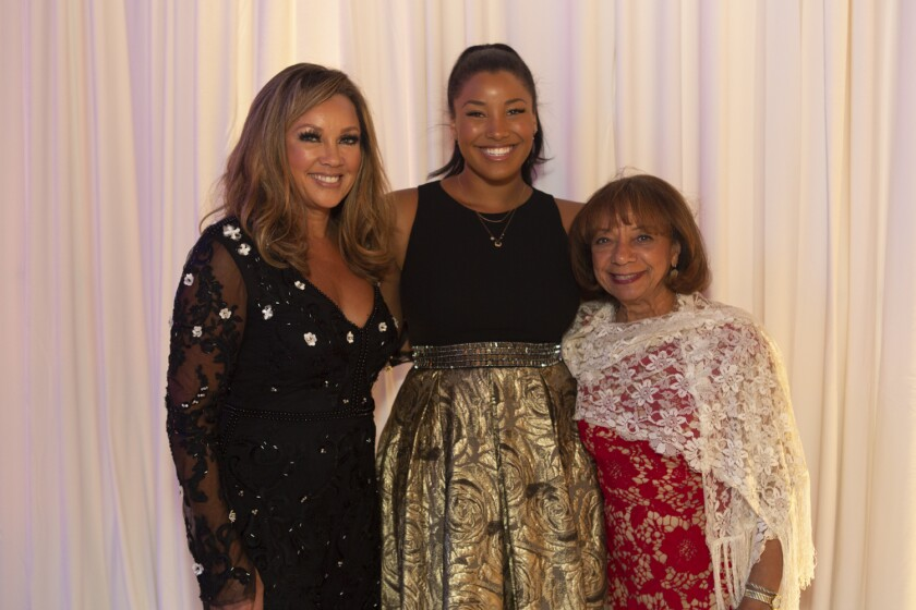Lifetime Achievement in the Arts recipient and Chapman University parent Vanessa Williams, left, with her daughter, Sasha Fox, center, and mother, Helen Williams.