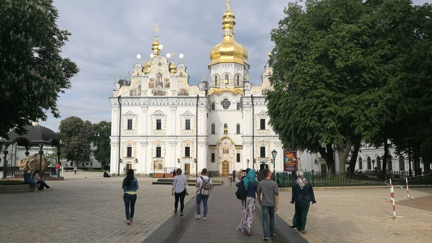 Believers and visitors on the way to the Great Church of the Kyiv-Pecherska Lavra, an Orthodox Chris