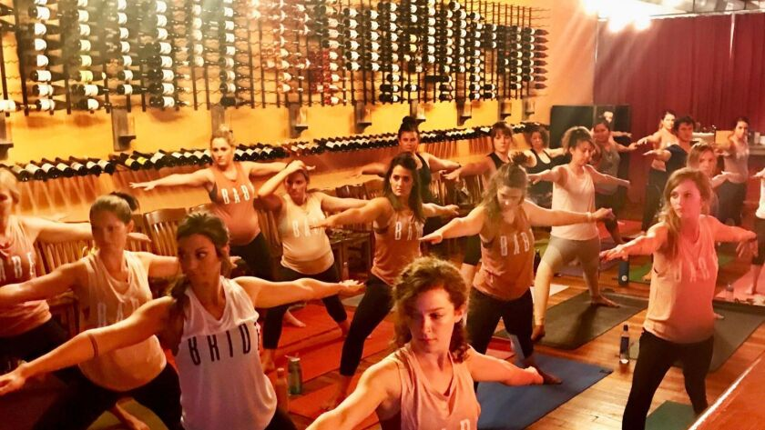 Strike a yoga pose and learn about wine in this innovative class, Vino Vinyasa, which will take plac