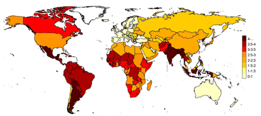 Pandemic respiratory mortality rates projected to all world countries with the Stage 2 multiple imputation model, stratified by age. Numbers in map legend are pandemic mortality rates per 100,000 persons for all ages.