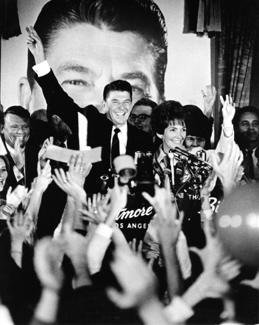 Ronald and Nancy Reagan during a victory celebration for governor, November 8, 1966. An image of Ron