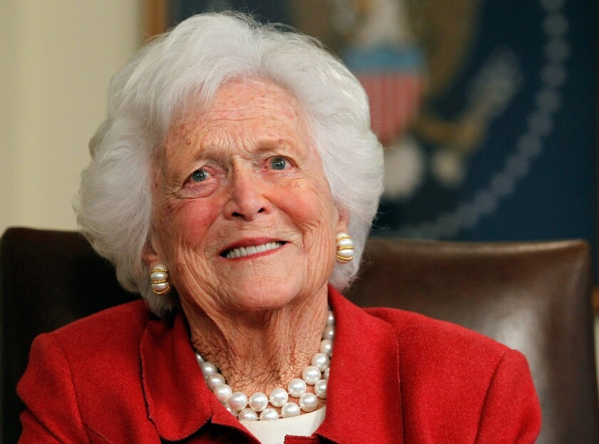 Barbara Bush, shown in 2012, was discharged from Houston Methodist Hospital on Saturday morning after six days of treatment for pneumonia.