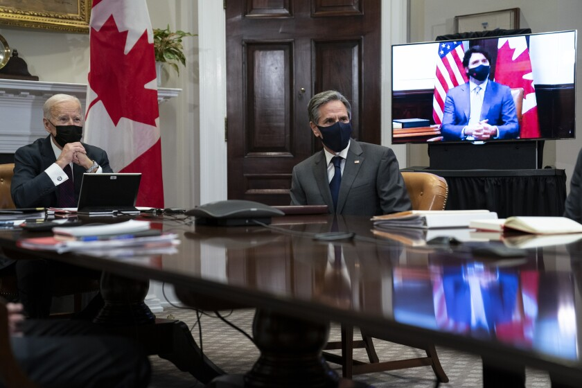 President Biden, Secretary of State Antony Blinken and Canadian Prime Minister Justin Trudeau speak virtually