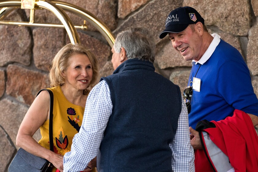 Shari Redstone, Viacom and CBS vice chair, CBS Chairman and CEO Leslie Moonves and former Walt Disney Chief Executive Michael Eisner at the Allen & Co. conference