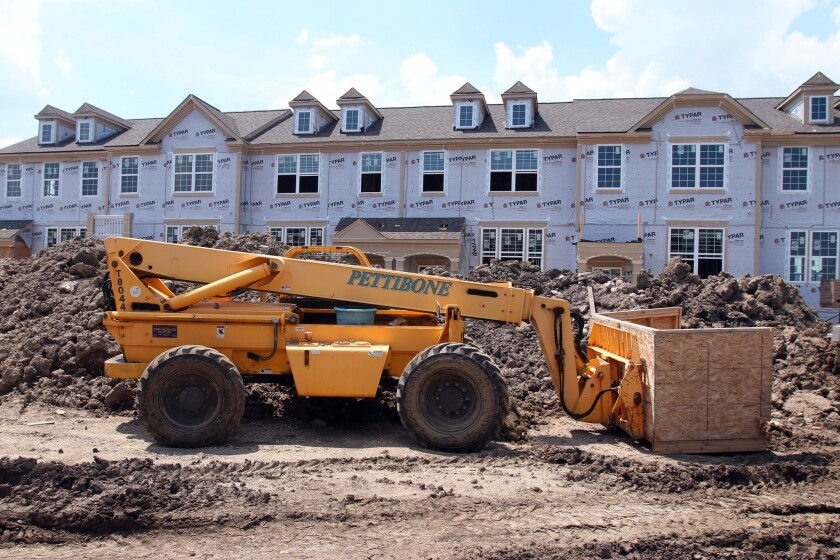 Townhouses under construction in Glenview, Ill., in June.