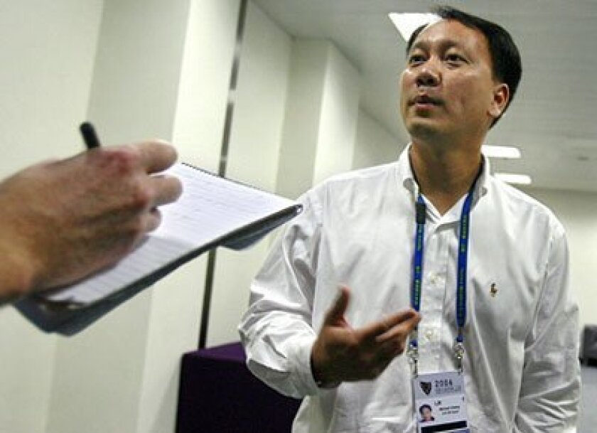 Michael Chang, at the 2006 Masters Cup in Shanghai, returned to China as a goodwill ambassador to the 2008 Beijing Olympics. (2006 file photo / Getty Images)