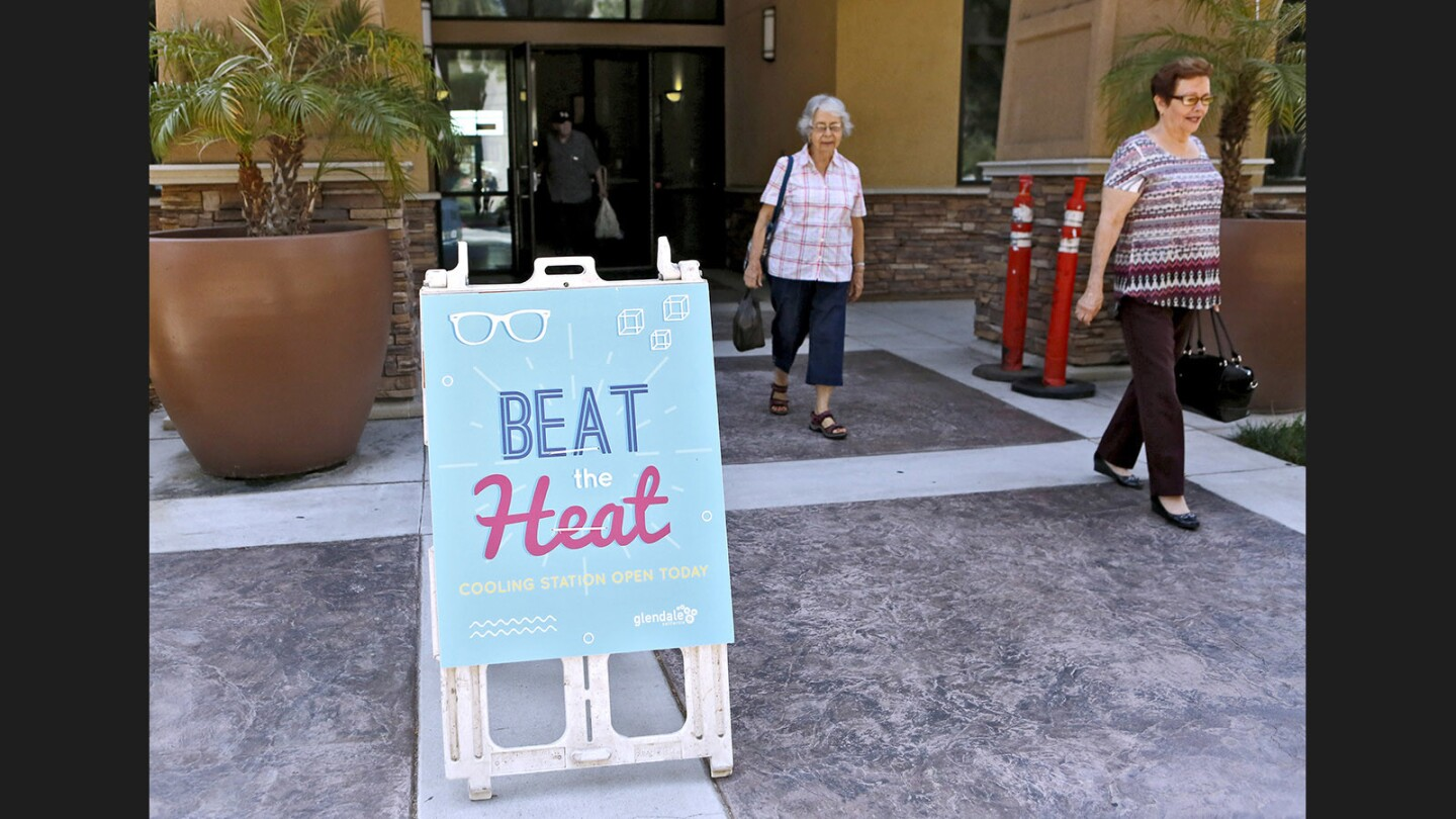 Photo Gallery: The Glendale Adult Recreation Center, one of various cooling stations throughout the city, offers cold water and air conditioning for those who need it most