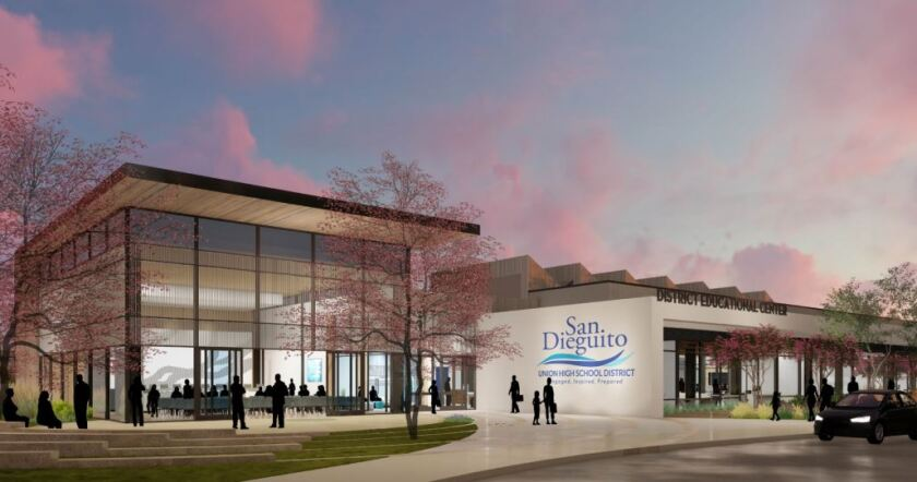 The rendering of the proposed San Dieguito Union School District office building on the Earl Warren Middle School site.