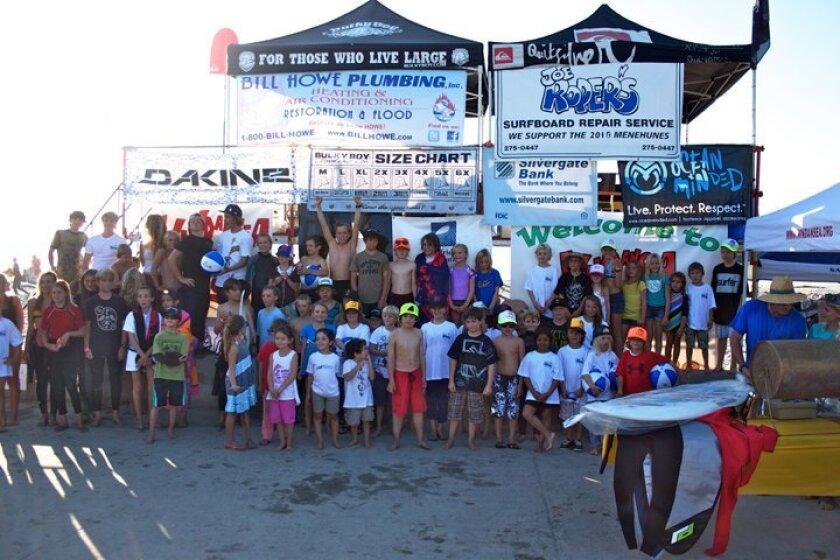 Participants of annual WindanSea Surf Club Menehune Junior Surf Contest at La Jolla Shores last weekend. .