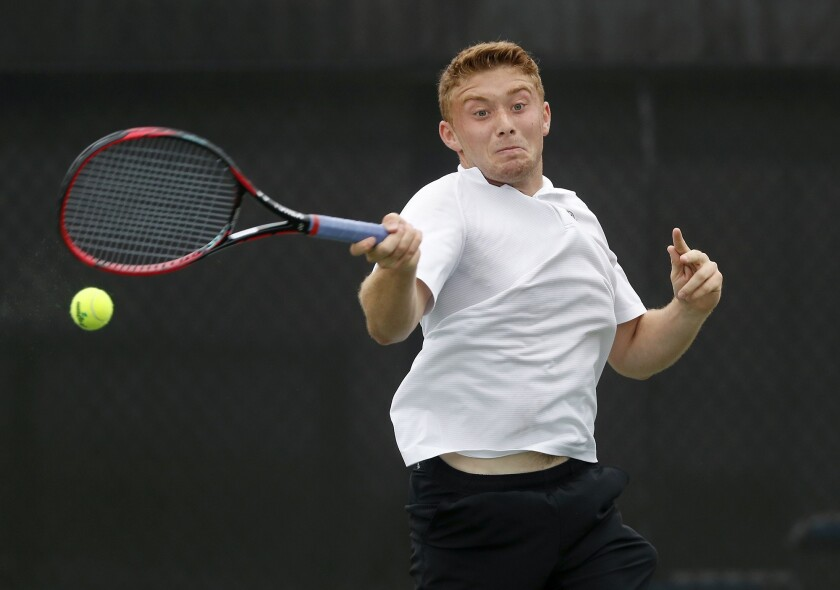 Sage Hill School No. 2 singles player Steven Ferry returns the ball against Ventura in the semifinal