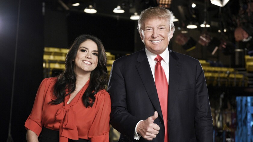 "Cecily Strong and Donald Trump on ""Saturday Night Live."""