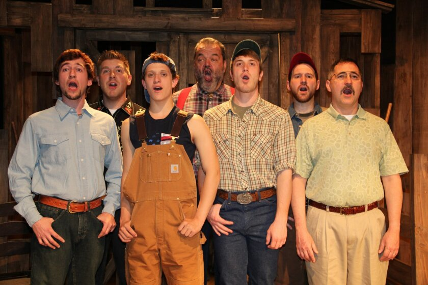 "From left: Tom Zohar, Tony Houck, Dylan Hoffinger, Bill Nolte, Jacob Caltrider, Anthony Methvin and John Whitley in ""Harmony, Kansas."" Ana Pines"