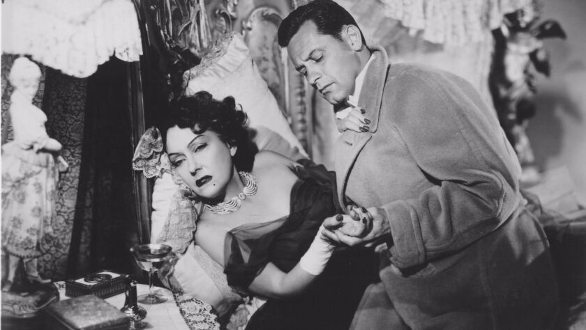 "Gloria Swanson and William Holden in ""Sunset Boulevard."""