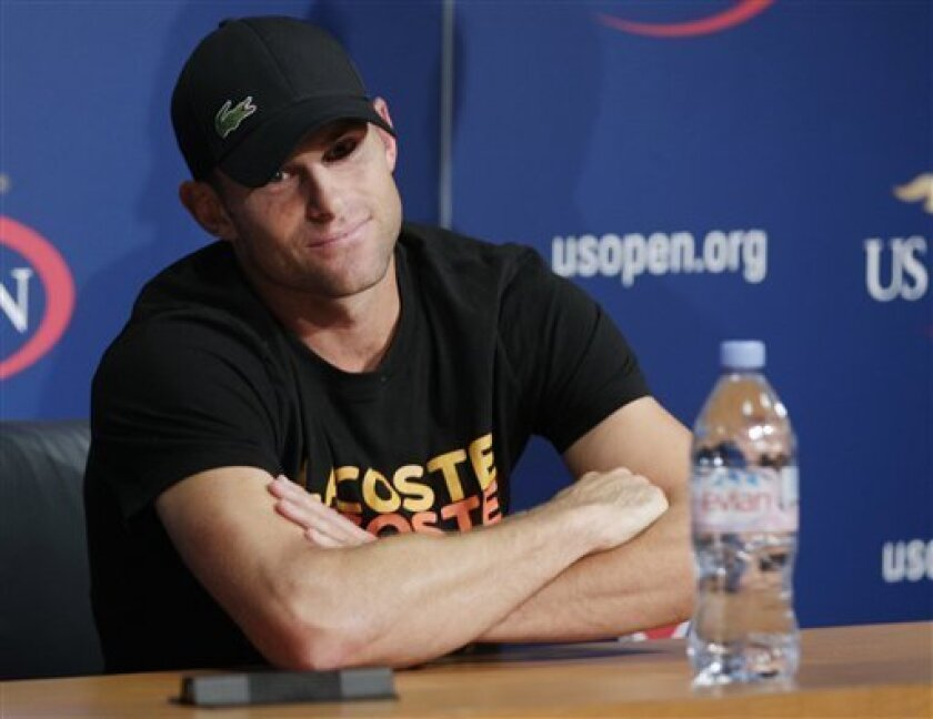 Andy Roddick speaks during a news conference during the second round of play at the 2012 US Open tennis tournament,  Thursday, Aug. 30, 2012, in New York. Roddick says the U.S. Open will be the last tournament of his career. The 2003 U.S. Open champion and former No. 1 announced his plans to retire