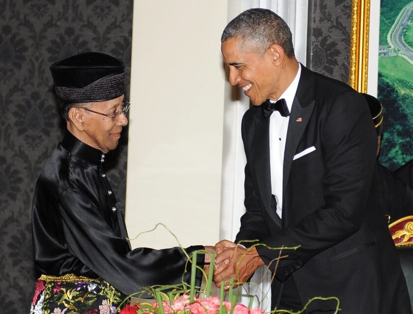 President Obama is welcomed at a state banquet hosted by King Abdul Halim of Kedah at the National Palace in Kuala Lumpur, Malaysia. Obama is the first U.S. president to visit Malaysia since Lyndon Johnson in 1966.