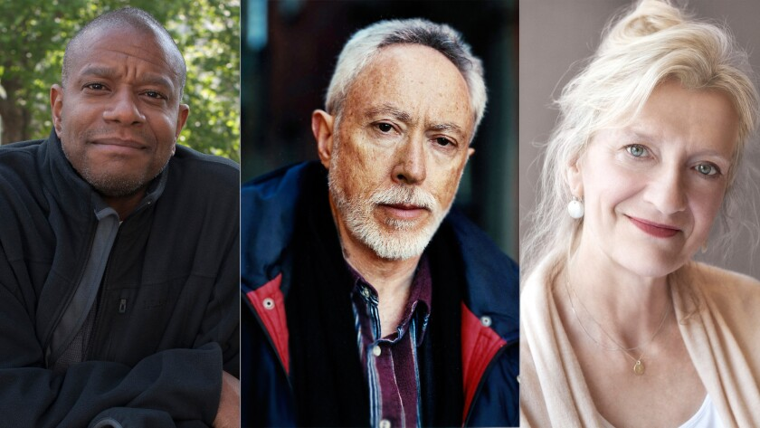 Paul Beatty, left, J.M. Coetzee and Elizabeth Strout are among the 13 authors longlisted for the Man Booker Prize.