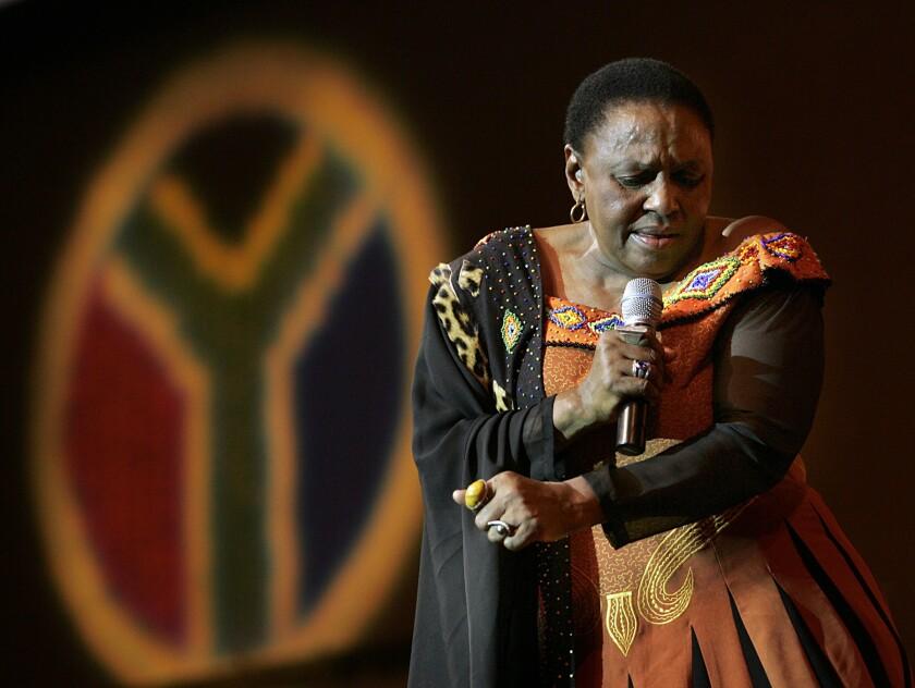 South African singer Miriam Makeba performing at West Angeles Church in Los Angeles in 2005.