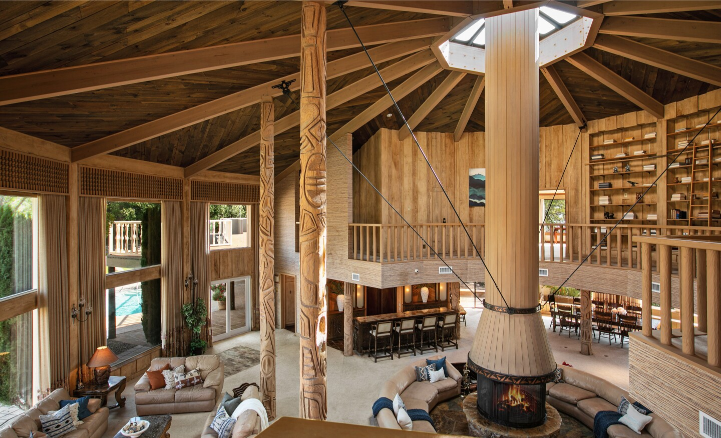 Capable of hosting 100 guests, the 554-acre ranch centers on a 17,000-square-foot lodge with a commercial kitchen, massive dining room and conference hall.