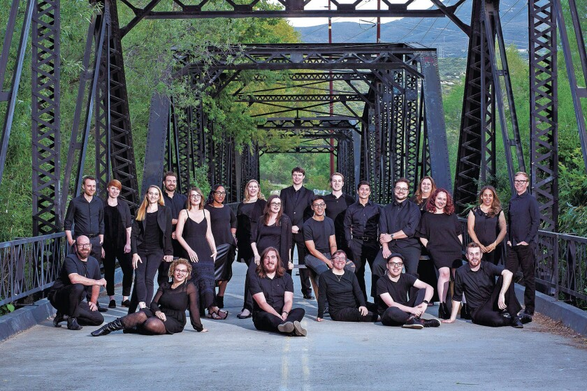 Sacra Profana on Sweetwater River Bridge. Associate Artistic Director Juan Carlos Acosta standing, f
