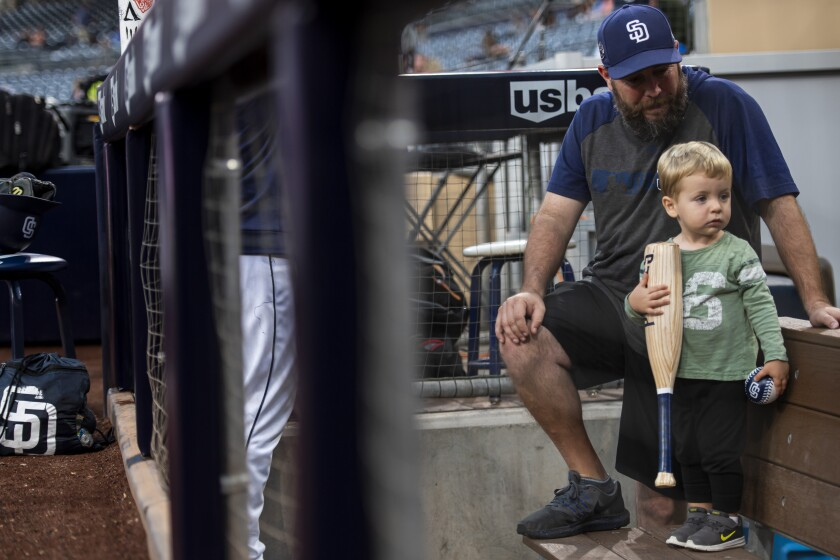 Spencer and his son, Jackson, at Petco Park for a game against the Chicago Cubs on Sep. 10 last year.